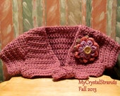 Buggs Mauve Glow Crochet Baby Shrug w/ Pink and Lilac Flower Accents