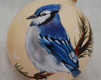 Christmas Ornaments Blue Jay glass ball ornament -birds
