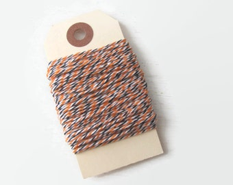 Halloween Baker's Twine - 10 Yards - Black Orange & White Striped Divine Twine - Gift Wrap - DIY Invitations - Packaging - Decorating Crafts