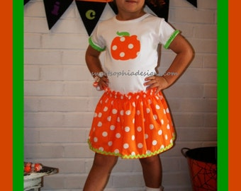 Pumpkin Halloween Skirt Set - Toddler Youth Girl Sizes