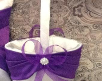 wedding flower girl basket ivory or white with purple custom made