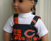 Chicago Bears Sports Sundress and matching headband, and white T-shirt for american girl or any 18 inch doll