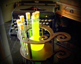 Dark Spiral Test Tube Holder with Hand Blown Decanter Science Gift Mad Scientist