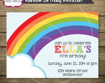 25 - Rainbow Birthday Invitations