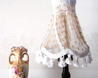 20% Off- Shabby chic lamp,Fabric lace Lampshade, Home decor , Lace Table lamp in gold tull, Retro Living room lights, Country Freanch  decor