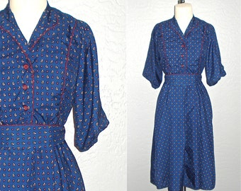 Vintage 80s dress navy TINY PAISLEY print short sleeve - S/M
