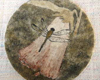 "Dragonfly on rose mallow sand painting 7"" circle original sand art flower dragon fly wetlands marsh eco art North American outsider art work"