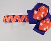 Purple and Orange Zigzag Woven Headband with Swiss Dots - Clemson Headband - Doll Headband -Etsykids Team