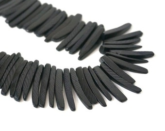 Black Wood stick beads, top drilled coconut palm sticks, tribal rustic, full strand (973R)