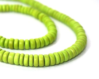 Wood Beads 8mm x 4mm Rondelle, lime green, eco-friendly wooden beads (964R)