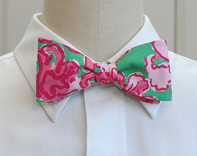 Men's Bow Tie, All A Flutter pinks and kelly green Lilly bow tie, groom/groomsmen bow tie, wedding bow tie, prom bow tie, butterfly bow tie