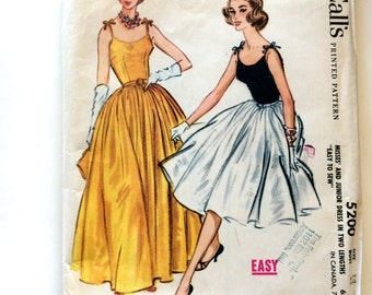 50s McCalls 5200 Full Skirt Evening Dress Bridal or Prom with Fitted Bodice and Spaghetti Tie Straps Size12 Bust 32