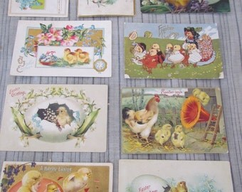 Lot of 9 Antique Embossed Easter Post Cards