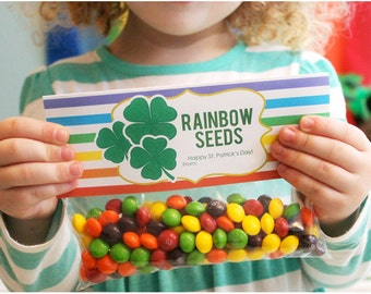 INSTANT DOWNLOAD-St. Patrick's Day Treat Bag Tags -Rainbow Seeds Printable PDF
