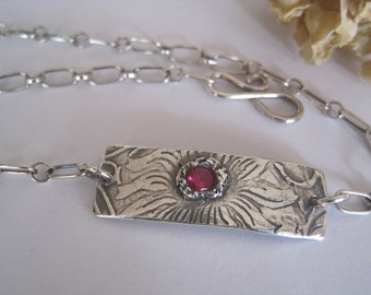 Ruby Red Stone and Silver Chain Anklet