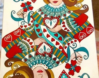 pattern, queen, queen of hearts, black and white pattern, decorative painting, painting, heart, pdf pattern, deck of cards