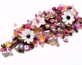 Pink, cream, topaz glass bead mix / bead soup