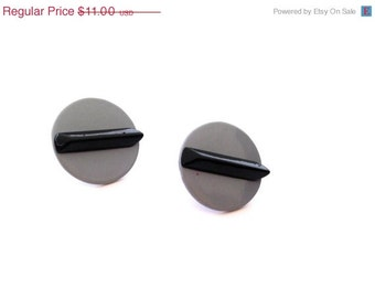 Vintage 1980s Earrings - Gray with Black Stripe