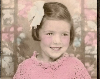 Vintage Photo - Little Girl on Pink and Blue - Antique Photo
