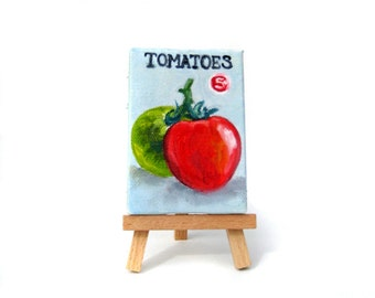 Tomato Seed Packet Painting - Garden Art - Garden Decor - Mini Painting with Easel - Original Painting - Tomatoes - Garden - Tomato Art