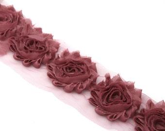 Muave Shabby  Rose Trim - Shabby Chiffon Rosettes - Solid Shabby Trim - 1/2 yard or 1 yard - Wholesale Shabby Chiffon Trim