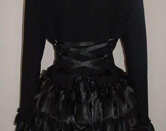 black gothic bustle jacket corset riding coat fantasy victorian style goth weddings burlesque vampire lace satin trim  US sizes 8 10 12 sml