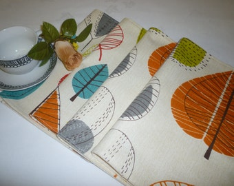 4 Placemats Orange Cinammon Teal Blue Green Funky Fabric Dinner Mats mix and match home decor washable