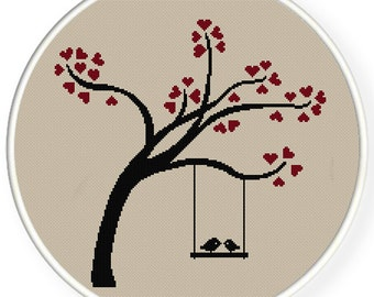 INSTANT DOWNLOAD,Free shippingCounted Cross-Stitch PDF,Love birds kiss on heart tree,valentine's day, wedding,zxxc0450