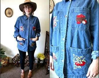 Vintage Floral 1990s Denim Jacket / Gardening Jacket / Painters Jacket Sz Medium 100% Cotton