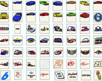 nascar 70 embroidery designs BOGO instant download
