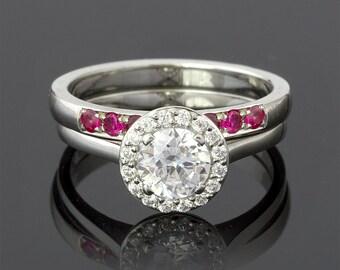 Wedding Set 1.15 Carat Diamond Halo Engagement Ring in 18k White Gold