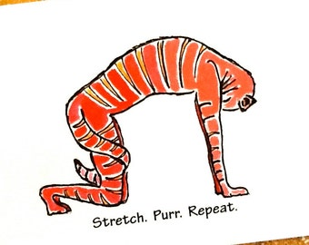 Cat Pose yoga greeting card