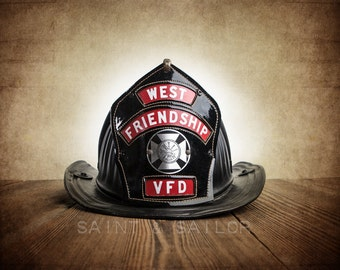 Vintage Fireman helmet Photo Art Print,West Friendship VFD 1, 12 Sizes Available from Print to Mounted Canvas