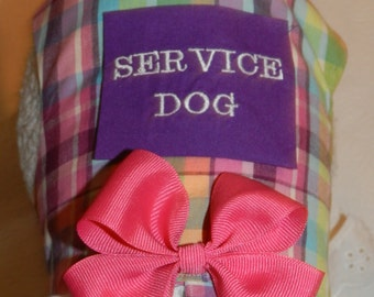Custom SERVICE Pet with Pocket Harness Vest in a Classic Pink Purple Plaid with Lace & Bow. Perfect Item for your Cat, Dog or Ferret.