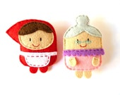 Little Red Riding Hood and Grandma set of felt brooches