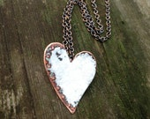 White copper heart necklace enameled and antiqued