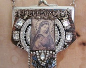 ON SALE Religious purse necklace leather antique paste rhinestone Madonna French rosary Ave Maria Victorian religious jewelry one of a kind