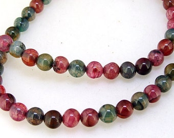 """Superb Rainbow Dragon Agate  Stone Gemstone One Strand 6mm Round Agate Jewelry , Full One Strand , fit your handwork Jewerly 15"""""""