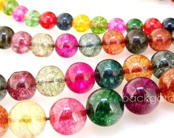 "8mm 10mm 12mm 14mm Round Multicolor Tourmaline Color Quartz Gemstsone  Beads 1 Full Strand  15"""