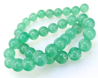 """Charm Candy 10mm Round Young Green Jade  Gemstone Beads Round Green Jade Beads Full Strand 15"""" in length"""