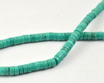 "Superb Green Heishi Turquoise Strand 6mm 8mm 10mm deep 3mm, 15"" Full One Strand Gemstone Beads"