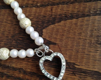 Pearl Gold Dusted Bead Bracelet with Rhinestone Heart Charm