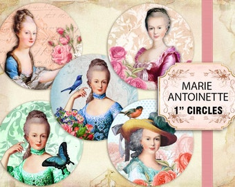 Printable Beautiful Marie Antoinette 1 inch circles pendants (421) Buy 3 - get 1 bonus
