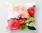 Garden Roses Watercolor Painting Print Pillow Cover. A beautiful mix of soft baby pink and magenta roses delicately painted. Floral Pillow