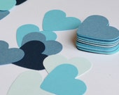 Blue Die Cut Hearts, Assorted Blue Confetti for Wedding Reception or Party, 100 Medium Sized Hearts, Paper Hearts