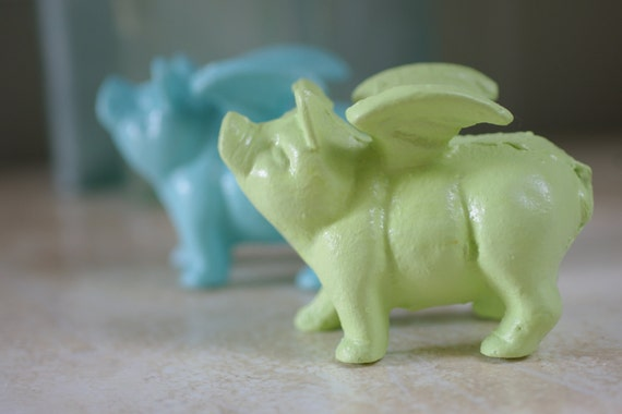 home decor cast iron little flying pig pick your color