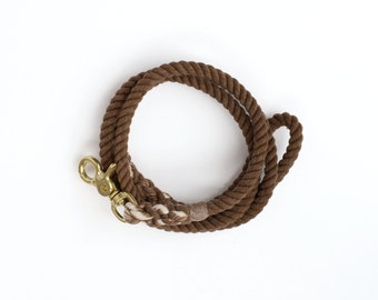 Hand-dyed Cotton Rope Dog Leash in Chocolate