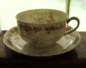 Limoges cup and saucer Haviland & Co. French porcelain pink floral tracery