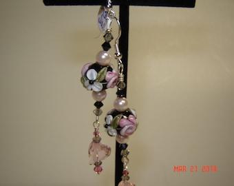 Black/Smokey/Pink, Pink Pearls Lampwork Earrings,Crystal Earrings,Floral Earrings,SRA Beads,#136