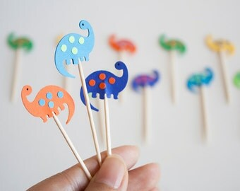 24 Dinosaur Party Picks - Cupcake Toppers - Toothpicks - Food Picks
